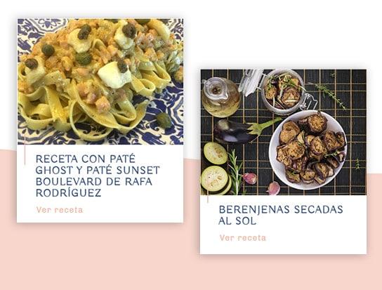 Sección de recetas de la web